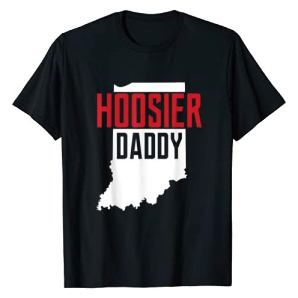 State Of Indiana USA Art Gift and Apparel Graphic Tshirt 1 Hoosier Daddy Indiana State Map Gift T-Shirt