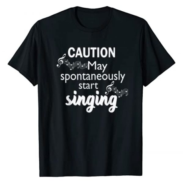 I Love Music T Shirt Gift Co. Graphic Tshirt 1 Singing Music Lover T Shirt Gift - Caution May Start Singing T-Shirt