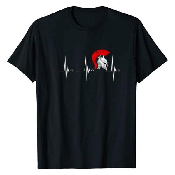 Cool Spartan Ancient Greece History Gladiator Gift Graphic Tshirt 1 Spartan Helmet Heartbeat EKG Pulseline Gladiator Warrior T-Shirt