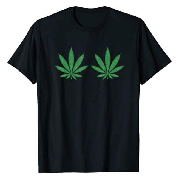 BoredKoalas Weed Marijuana 420 Stoner Clothing Graphic Tshirt 1 Weed Green Boobs Bra 420 Cannabis Leaves Stoner Girl Gift T-Shirt
