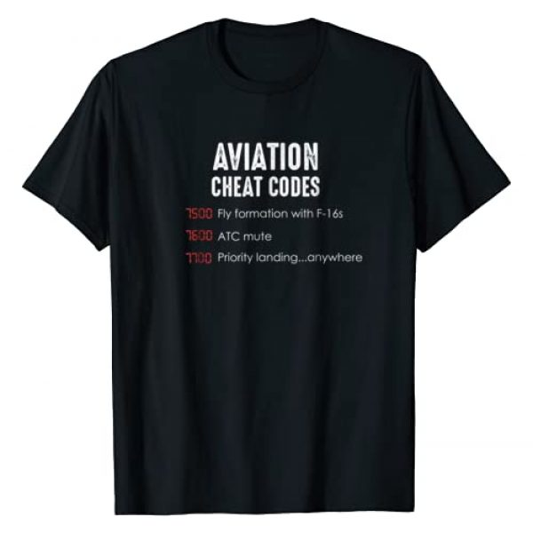 Funny Aviation and Pilot clothes and gifts Graphic Tshirt 1 Aviation cheat codes - Funny shirt for pilots and ATC