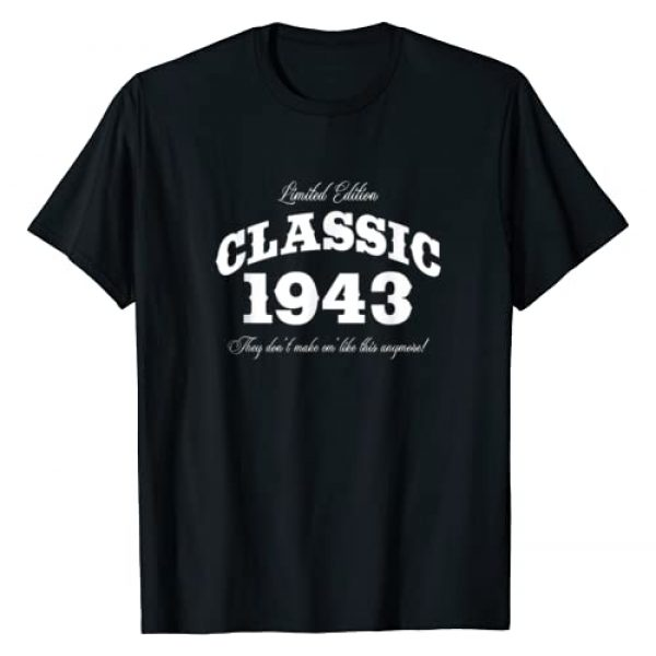 BORN Graphic Tshirt 1 Gift for 77 Year Old: Vintage Classic Car 1943 77th Birthday T-Shirt