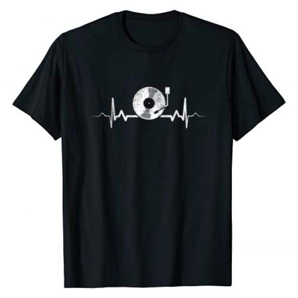 We Love Vinyl Records - Retro DJ Gifts Graphic Tshirt 1 Vinyl Record Heartbeat Vintage Retro Old School DJ Gift T-Shirt