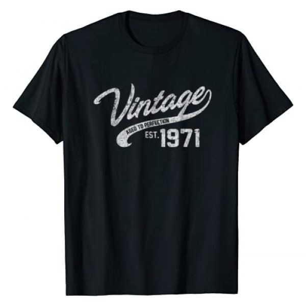 AGED TO PERFECTION Graphic Tshirt 1 Vintage Made In 1971 T-Shirt 47th Birthday Gift