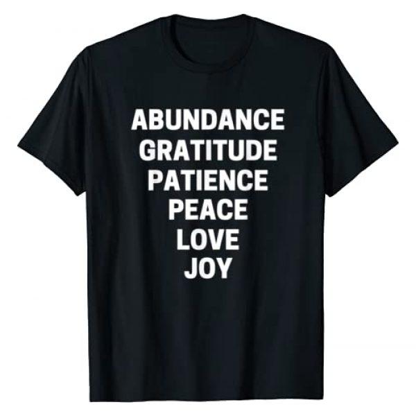 GratitudeGains Graphic Tshirt 1 Abundance, Gratitude, Patience, Peace, Love, Joy (in White) T-Shirt