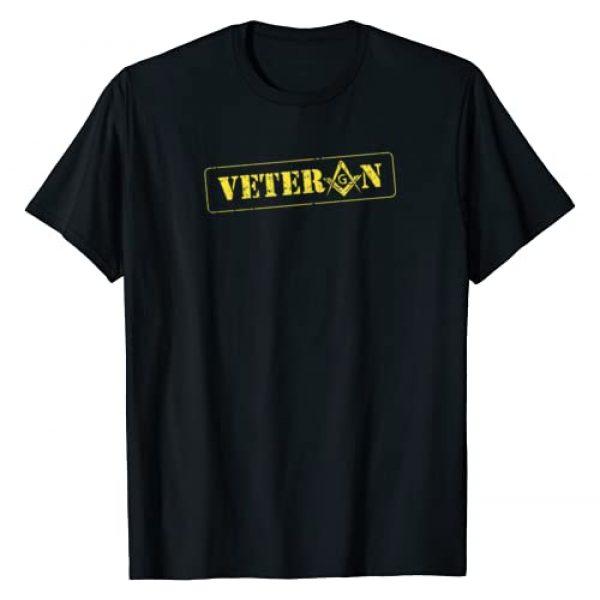 Masonic Shirts & Freemason Lodge Merch Graphic Tshirt 1 Masonic Military Veteran Square & Compass Freemason T-Shirt