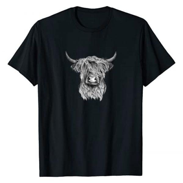 Highland Cow Wildlife T-Shirts Graphic Tshirt 1 Highland Cow - Hand Drawn Illustration T-Shirt