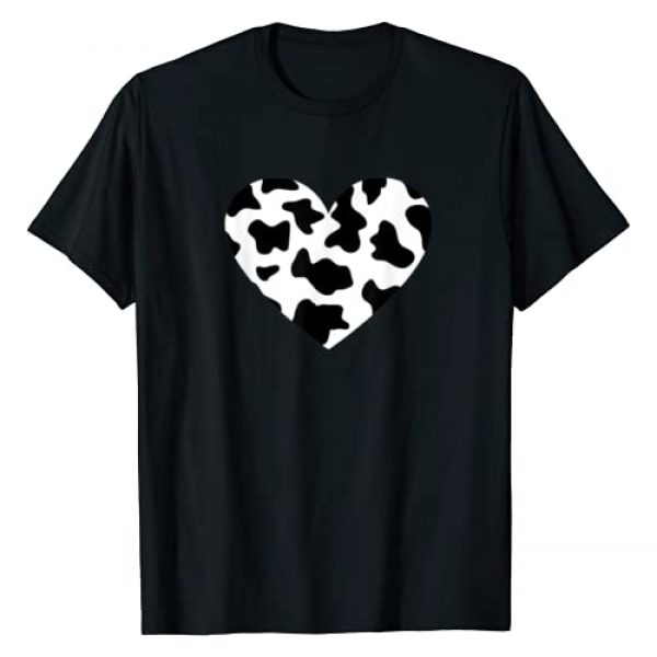Cool Cow Print T-Shirts Graphic Tshirt 1 Awesome Cow Print Black & White Print Heart T-Shirt