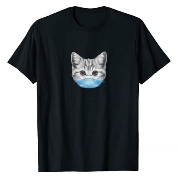 Masked Cat Tee Shop Graphic Tshirt 1 Cat Wearing Surgical Face Mask | Quarantine Kitty Lover T-Shirt