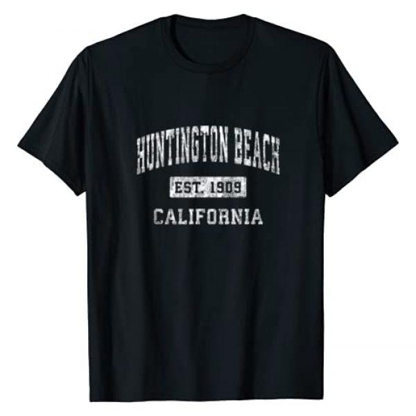 Huntington Beach CA T-Shirts & Retro Tees Graphic Tshirt 1 Huntington Beach California CA Vintage Established Sports T-Shirt