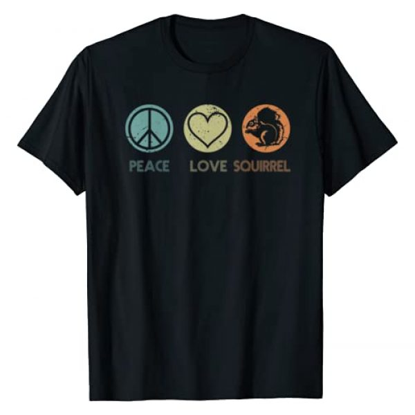 KDT Funny Animal Tshirt Animal Lover Gifts Graphic Tshirt 1 Vintage Peace Love Squirrel Tshirt Funny Squirrel Lover Gift T-Shirt