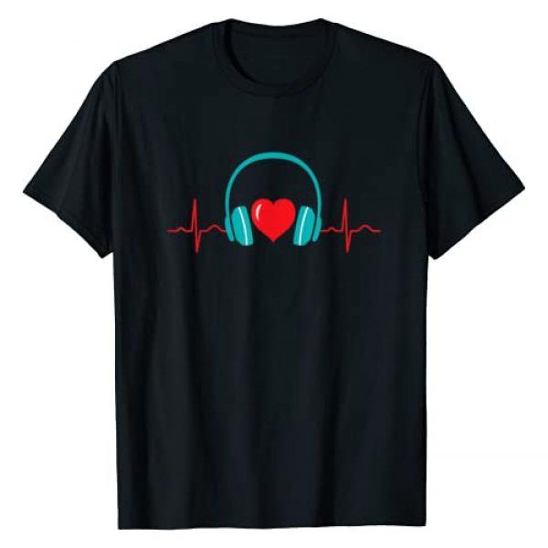 Heartbeat Music Love Headphones Valentine's Day Graphic Tshirt 1 Heartbeat EKG Heartline Headphones Love Valentine's Day T-Shirt