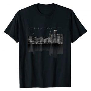 Big City Skylines Graphic Tshirt 1 Chicago City Skyline Lights at Night T shirt
