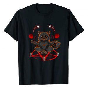 Hail Satan Apparel by CrushRetro Graphic Tshirt 1 Evil Yarn Juggling Black Cat Devil Occult Satanic Pentagram T-Shirt