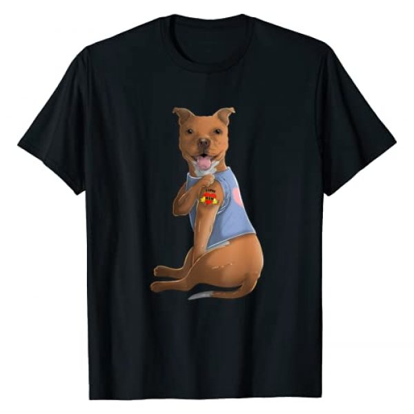 Coolest Mom Apparel Graphic Tshirt 1 Pitbull I Love Mom Tattoo Dog Shirt Funny Mother's Day Gift T-Shirt