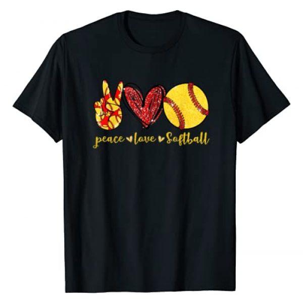Peace Love Softball Graphic Tshirt 1 Cute Softball Lovers Gifts T-Shirt