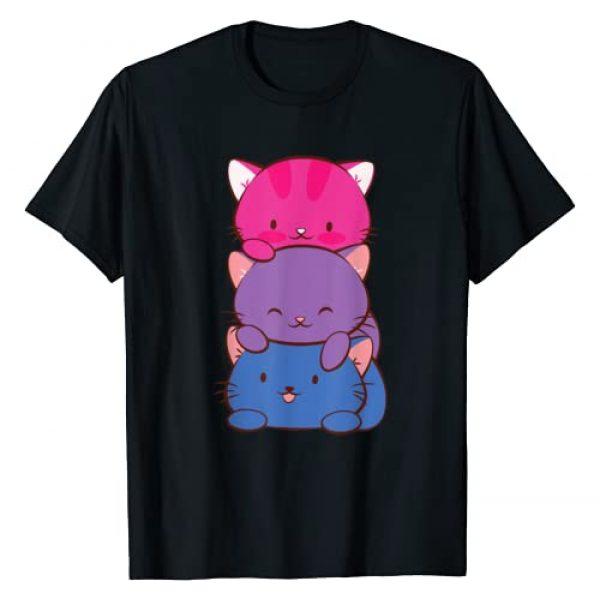 Bisexual Pride Kawaii Cats Graphic Tshirt 1 Bisexual Pride Kawaii Kitty Cat Stack Anime Art T-Shirt