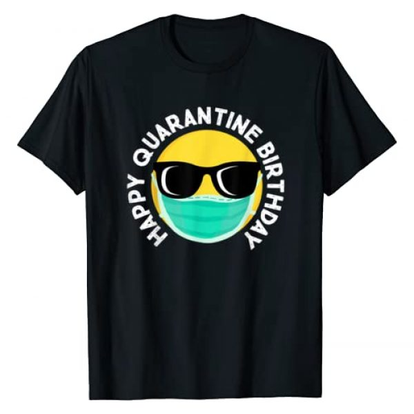 Miftees Graphic Tshirt 1 Happy Quarantine Birthday Funny Social Distancing emoji T-Shirt
