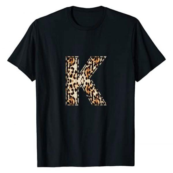 Leopard Cheetah Letters T-Shirts Graphic Tshirt 1 Cool Letter K Initial Name Leopard Cheetah Print T-Shirt