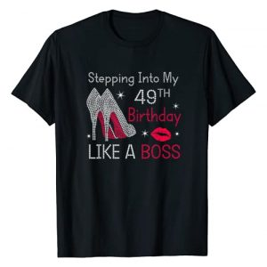 Birthday woman gift Graphic Tshirt 1 Stepping Into My 49th Birthday Like A Boss Funny T-Shirt