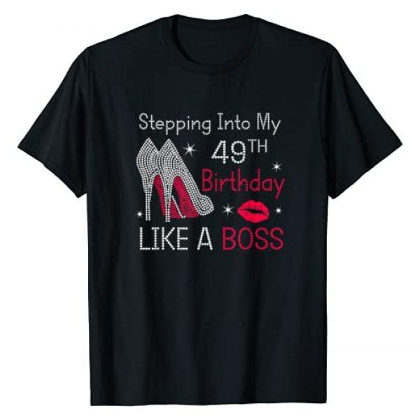 Birthday woman gift Graphic Tshirt 1 Stepping Into My 49th Birthday Like A Boss Funny T-Shirt