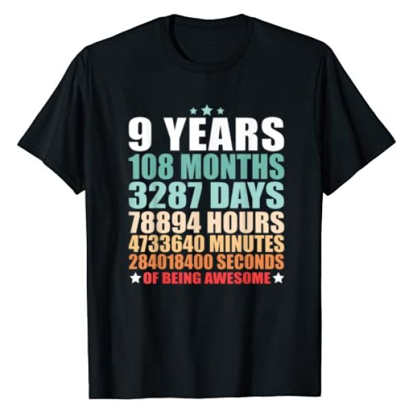 Birthday Being Awesome Gift Graphic Tshirt 1 9 Years 108 Months Of Being Awesome Funny Nine Years Old T-Shirt
