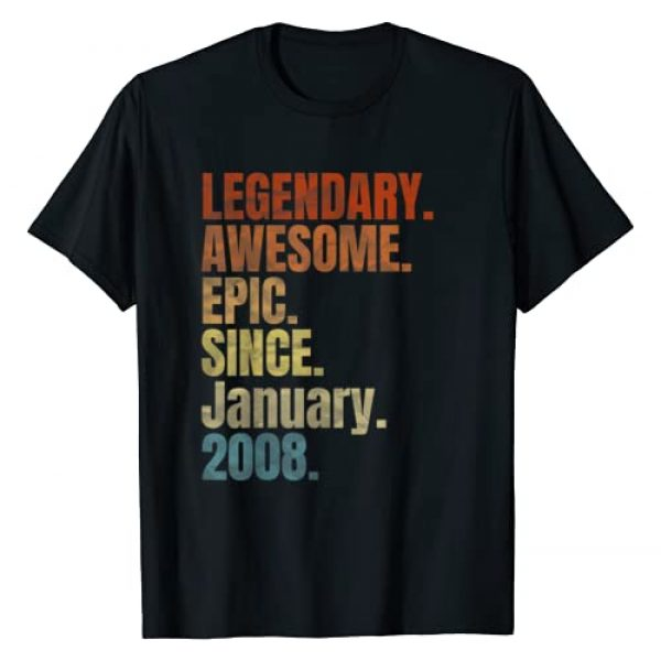 Born in January Awesome birthday gift 12 Yrs Old Graphic Tshirt 1 Retro Legendary Since January 2008 T Shirt 12 Years Old T-Shirt