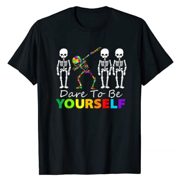 Autism Awareness T Shirts 123 Graphic Tshirt 1 Skeleton Dabbing Dare To Be Yourself T Shirt Funny Autism T-Shirt