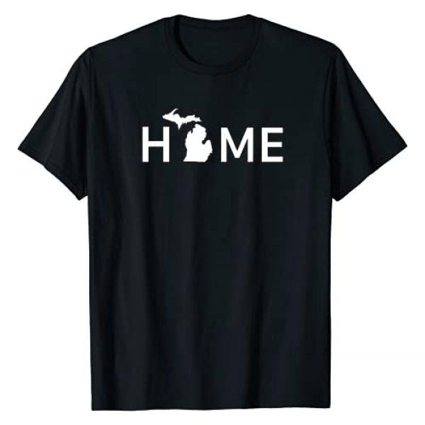 Elles States Apparel Graphic Tshirt 1 Michigan Home Love U.S. State Outline Silhouette T-Shirt