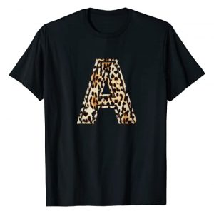 Leopard Cheetah Letters T-Shirts Graphic Tshirt 1 Awesome Letter A Initial Name Leopard Cheetah Print T-Shirt