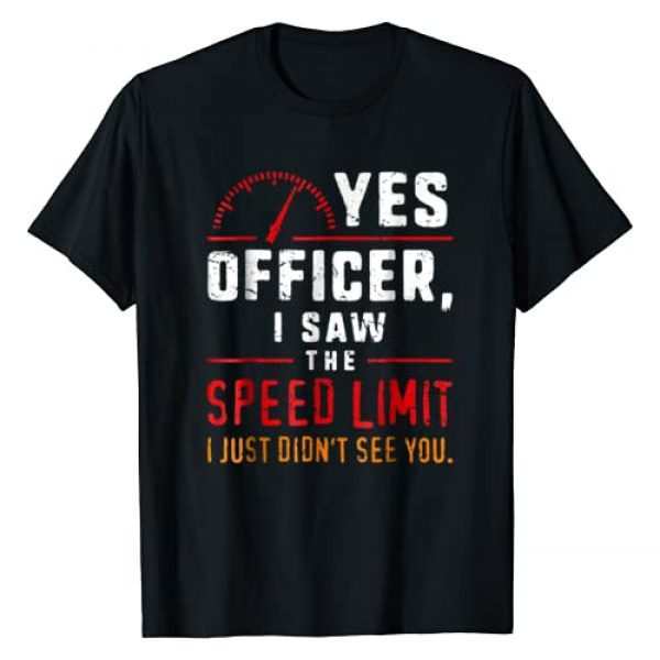 Retro Muscle Car Shirts Funny Gifts For Him Graphic Tshirt 1 Yes Officer Speeding T-Shirt For Car Enthusiasts & Mechanics