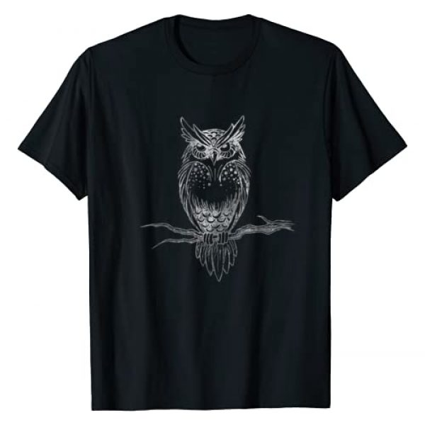 Owls and Birds of prey Barn owls tshirts Graphic Tshirt 1 Great Horned Owl distressed design T-shirt