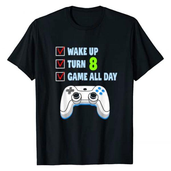 Wake Up Turn 8 Video Gamer Birthday Party Shirts Graphic Tshirt 1 8 Years Old Boy Gamer Birthday Party 8th Birthday Gift T-Shirt