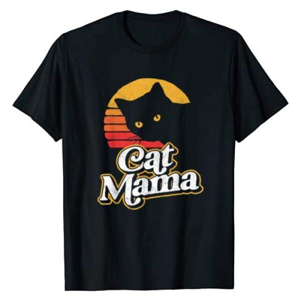 Pet Mom & Dad Retro Cat Tees Graphic Tshirt 1 Cat Mama Vintage Eighties Style Cat Retro Distressed T-Shirt