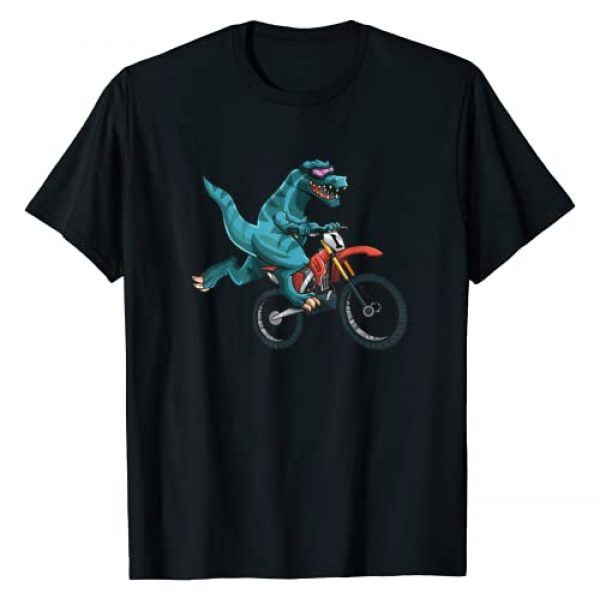 Dinosaur Sports Lover Gifts Graphic Apparels Graphic Tshirt 1 Funny Dino On Dirt Bike T-Rex Lover Rider Motorcycle Riding T-Shirt