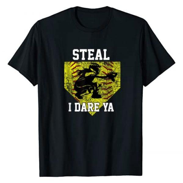Girls Softball Catcher For Players and Moms Graphic Tshirt 1 Softball Catcher Steal I Dare Ya Funny Player Girls Gift T-Shirt