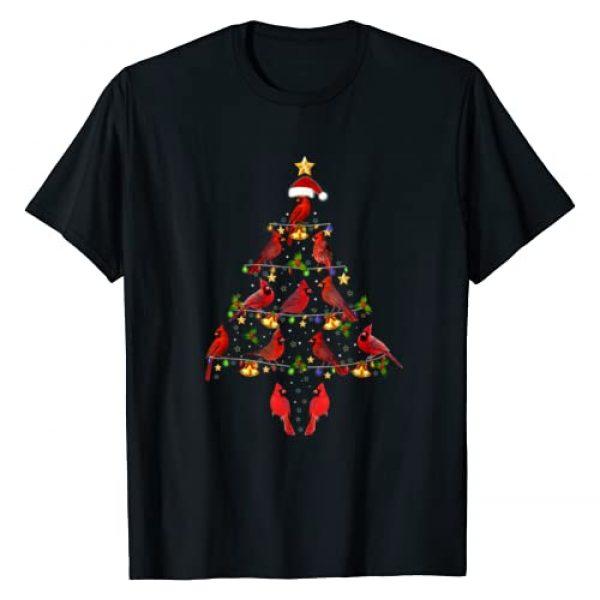 Cardinal Lover Xmas Gift Tee Graphic Tshirt 1 Cardinal Bird Christmas Tree Tee Cardinal Lover Xmas Gift T-Shirt