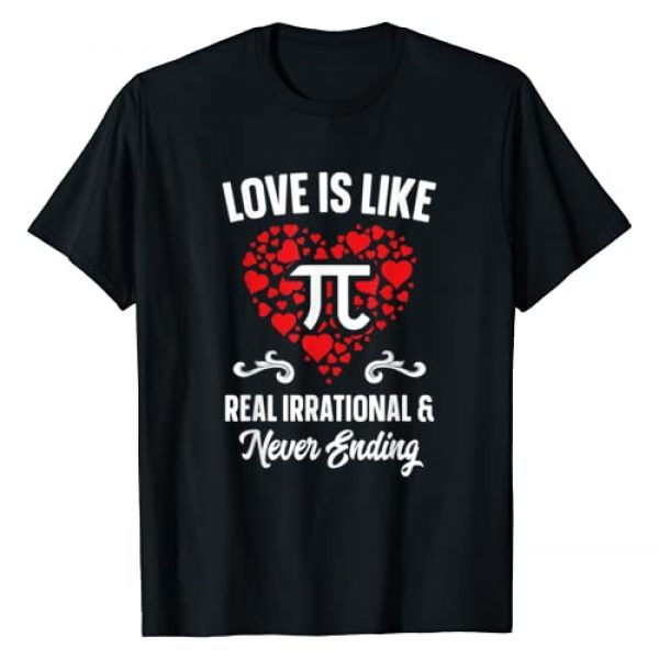 TeechLuvv Apparel Graphic Tshirt 1 Love Is Like Pi Day Shirt Gift Math Funny Valentines Day T-Shirt