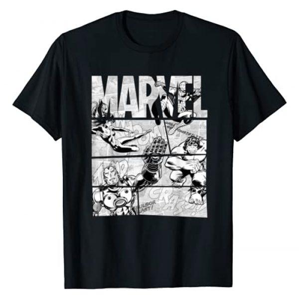 Marvel Graphic Tshirt 1 Avengers Retro Black and White Comic Graphic T-Shirt
