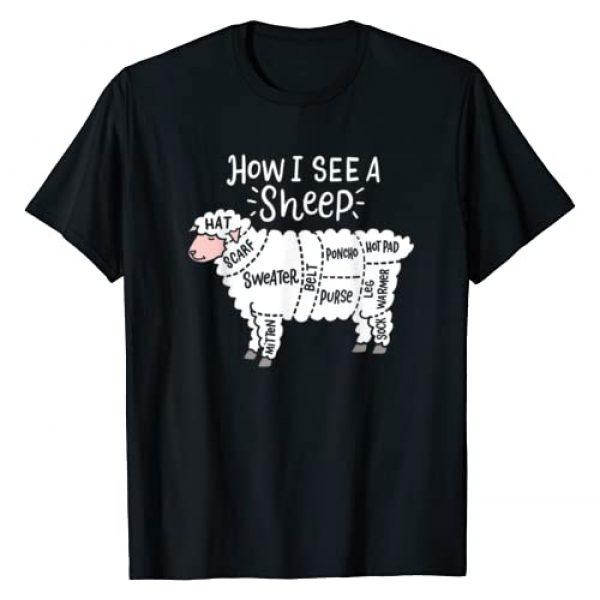 Funny Knitting Gifts And Designs Graphic Tshirt 1 How I See A Sheep Cute Yarn Wool Sheep Knitter Knitting T-Shirt
