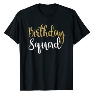 Birthday Gift for Girls Tshirt Graphic Tshirt 1 Birthday Squad Shirt Gold White B-Day for Women T Shirt