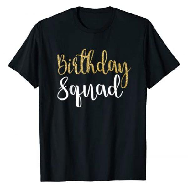 Birthday Gift for Girls Tshirt Graphic Tshirt 1 Birthday Squad Shirt Gold White B-Day for Women T Shirt