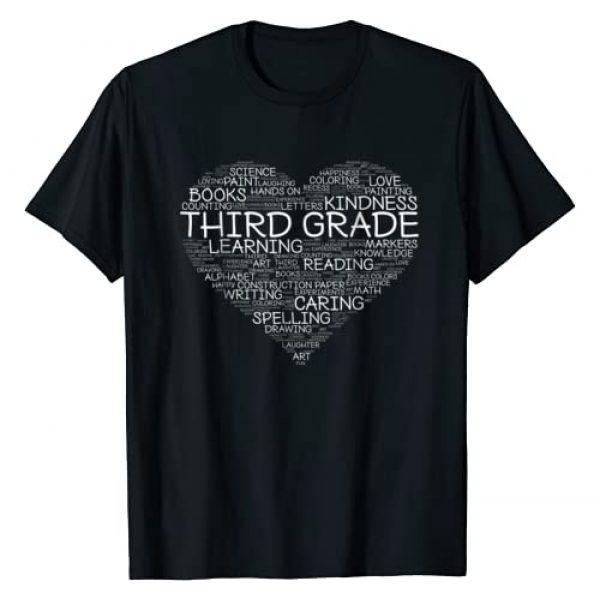 Keep It School Graphic Tshirt 1 Third Grade Word Heart T-Shirt 3rd Grade Student & Teacher