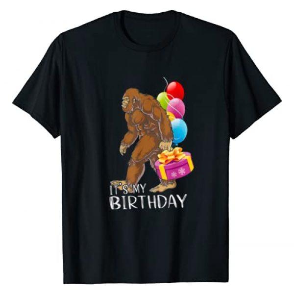 Bigfoot Birthday Cake Balloons Sasquatch Shirt Graphic Tshirt 1 Bigfoot Happy Birthday To Me Gift Cake Balloons Sasquatch T-Shirt