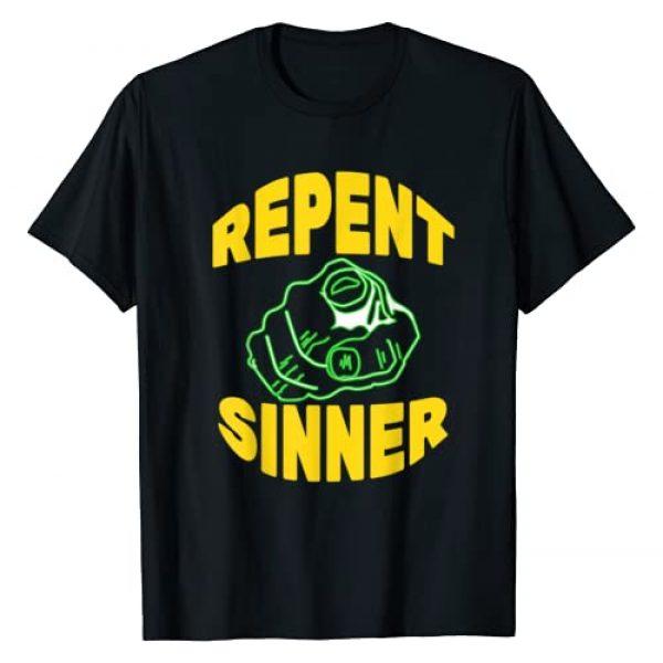 Sunday Morning Tees Graphic Tshirt 1 Repent Sinner - Funny Christian Jesus Bible T-Shirt
