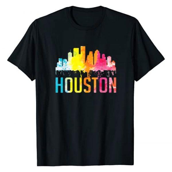 Houston Texas Home State Shirt Graphic Tshirt 1 Houston Texas Watercolor Skyline Home State Souvenir Gift T-Shirt
