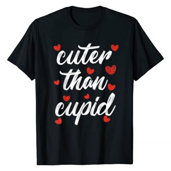 Valentines Day By Design Tee Company Graphic Tshirt 1 Cuter Than Cupid Boys Girls Kids VDay Cute Valentines Day T-Shirt
