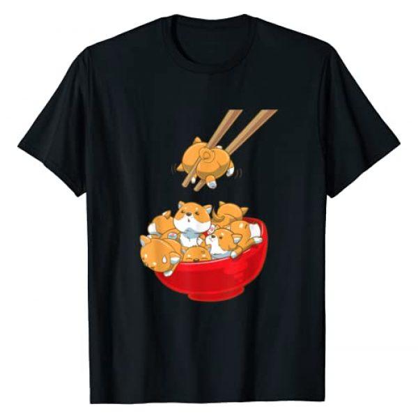 NipoCutie Japanese Graphic Tshirt 1 Funny Japanese Kawaii Shiba Inu in a Ramen Bowl T-Shirt