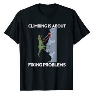 Blood & Chalk Graphic Tshirt 1 Funny Climbing T-Shirt T-Rex Rock Climber Dinosaur Tee