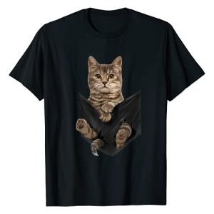 Cat Graphic Tshirt 1 Brown Cat Sits in Pocket T-Shirt Cats Tee Shirt Gifts